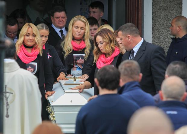 The coffin of mum-of-three Karen Stewart is taken out of the Church of Our Lady Immaculate in Darndale after her funeral