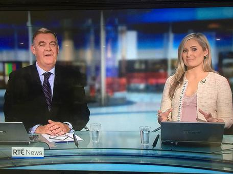 Bryan Dobson and Sharon Ni Bheolain share a joke last night as the broadcaster said farewell to viewers of Six One before leaving the studio for the final time