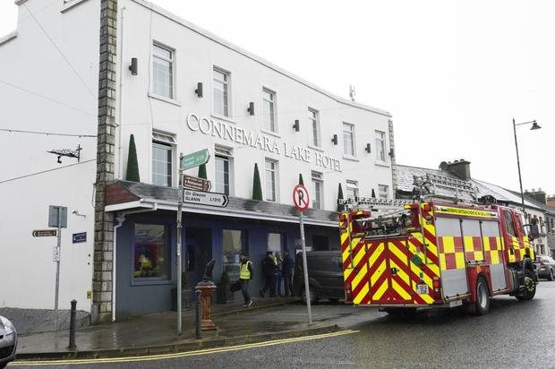 Emergency services attend the scene after a guest died at the Connemara Lake Hotel