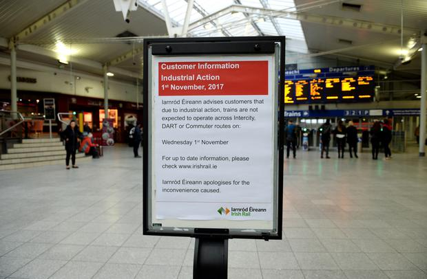 A strike notice in Connolly Station