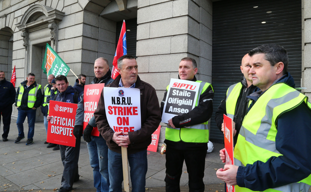 Irish Rail Workers picketing at Heuston Station on Wednesday