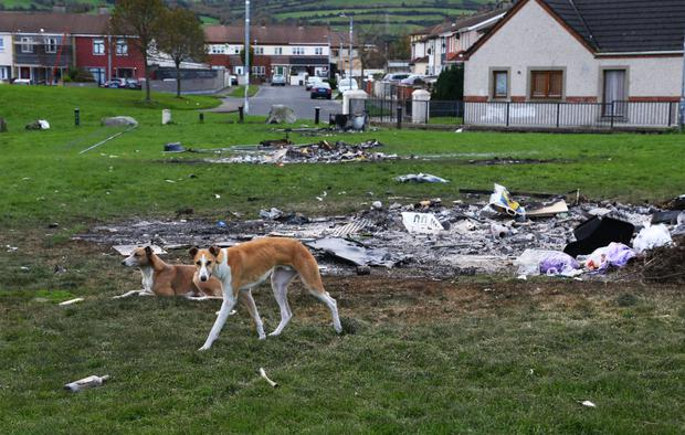 The remains of Bonfires, including Domestic Waste at Rossfield Park, Tallaght yesterday