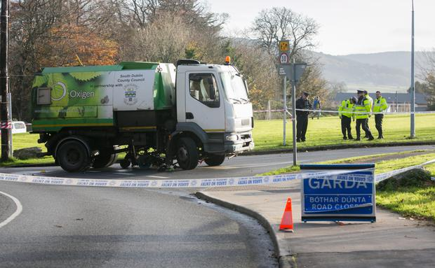 Gardai at the scene of the fatal incident in Whitechurch Road