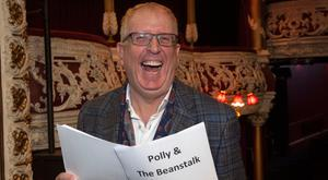 Rory Cowan gets familiar with the script for the Olympia panto