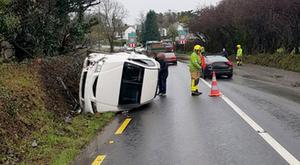 An overturned car in Brittas