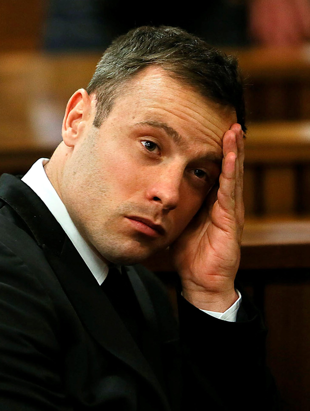 A tearful Oscar Pistorius during his trial
