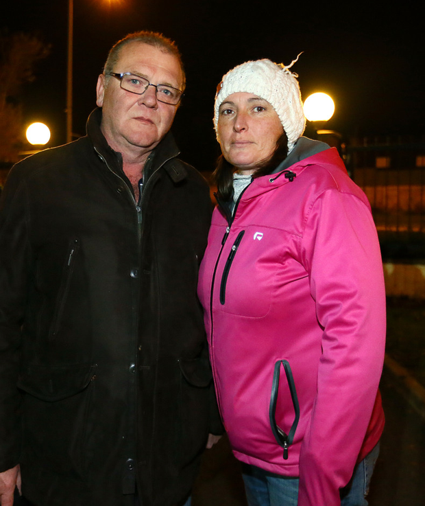John and Lorna McKenna at the protest in Balbriggan
