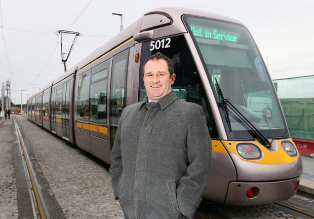 Paulo Carbone at the new Luas station at Broombridge
