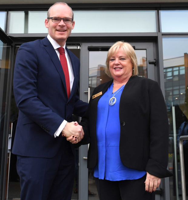 Simon Coveney with Mater Cork's Donna Roche Mather