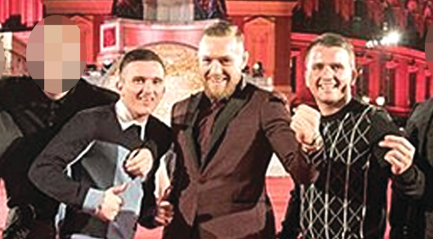 Andy and Jonathan Murray with Conor McGregor at the Fashion Awards in London