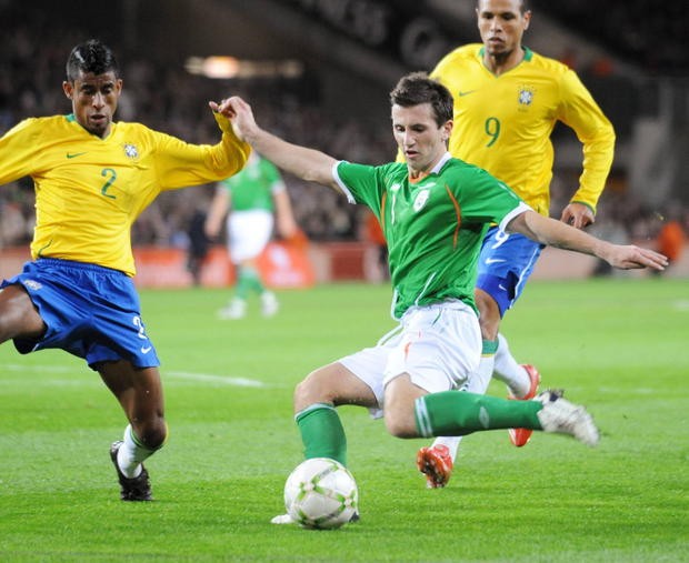 Liam Miller in action for Ireland
