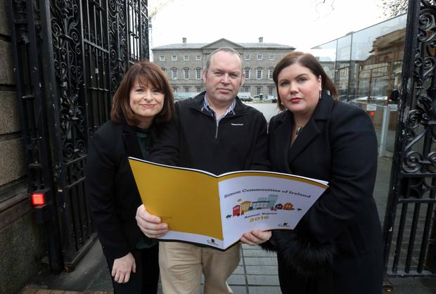 Emily Logan (left), chief of the Irish Human Rights and Equality Commission, with Dermot Kavanagh and Niamh Randall of Simon Communities at the launch of Simon's annual report. Photo Leah Farrell/RollingNews.ie