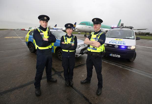 Ronan Cassidy (left), Sgt Niamh Regan and Trevor Giltrap patrol the 'town sized' Dublin Airport