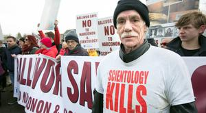 Former Scientologist William Drummond, who travelled from England for the protest
