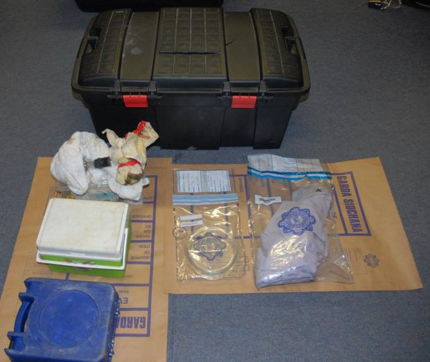 Some of the items found in the garda raid in Walkinstown