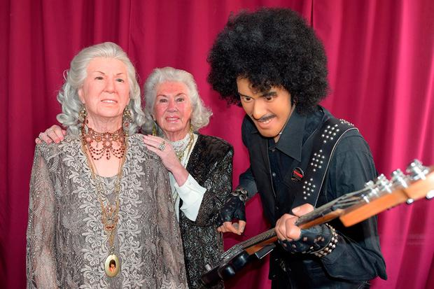 Philomena Lynott with her wax double next to Phil's replica
