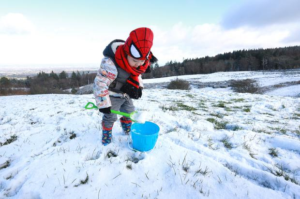 Three and a half year old Benjamin Liu from Knocklyon fills his bucket with some fresh snow at Cruagh in the Dublin Mountains