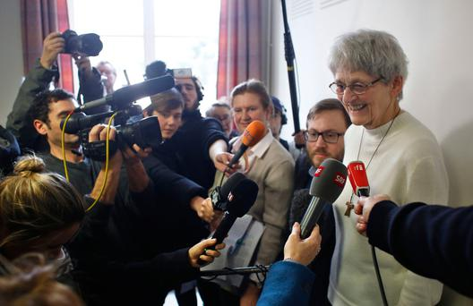 Nun Bernadette Moriau answers reporters in Beauvais, northern France,