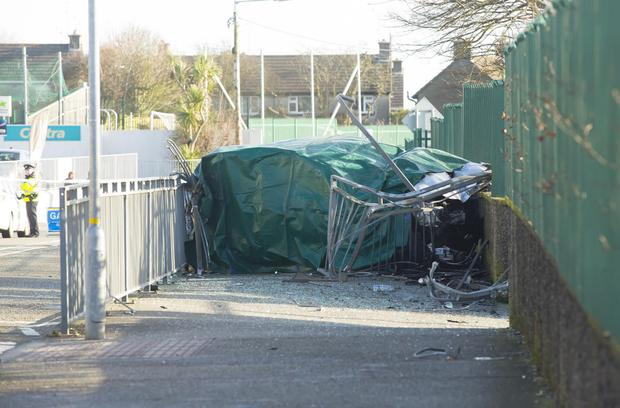 The accident scene at White Mill Road, Wexford. One man died and two boys were injured in the crash