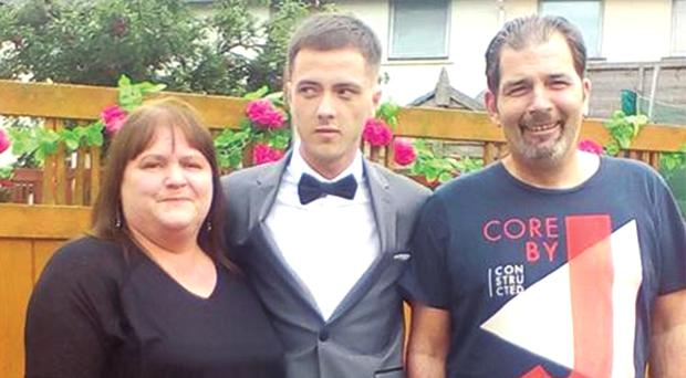 Fiona Nolan (left) with her son Adam (centre) who is charged with the murder of Bryan Cassidy (right), whose funeral Mass was held at St Canice's Church, Finglas yesterday
