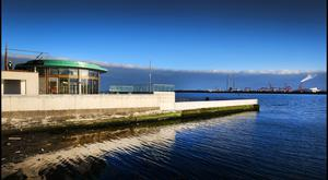 Construction works near completion at the Clontarf Seawater Baths, due to open next week. Photo: Steve Humphreys