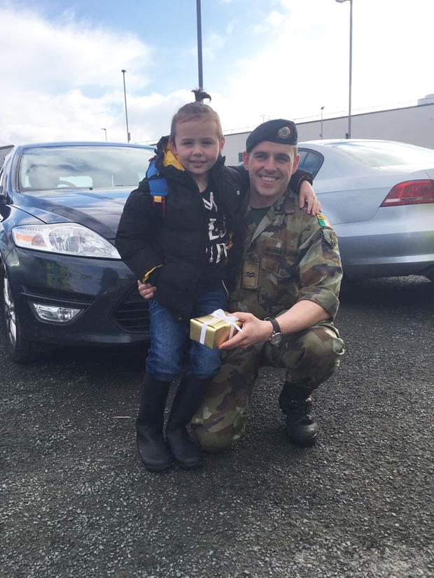 Logan Shepherd with hero Corporal Steve Holloway