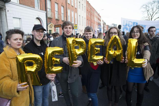 Marchers spell out their support for the repeal of the Eighth Amendment