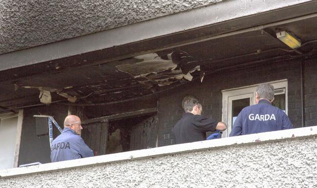 Gardai Technical Bureau at the scene in the fire's aftermath