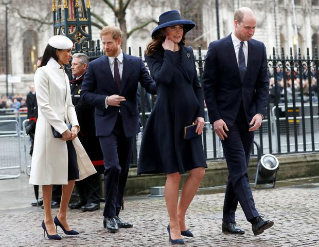 Meghan, Harry, Kate and William attended the service. Photo: Reuters