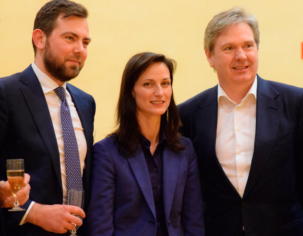 Wout van Wijk with Mariya Gabriel and INM's Editor-in-Chief Stephen Rae