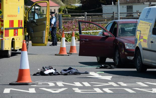Gardai at the scene of the botched hit on James 'Mago' Gately at a petrol station