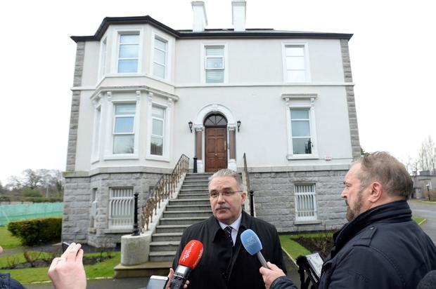 Russian ambassador Yury Filatov speaks to Irish journalists outside the embassy in Orwell Road