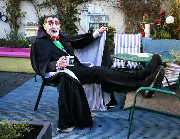 Paddy Drac pictured relaxing at his home in Tallaght, before he takes part in his final St Patrick's Day Parade in Dublin.