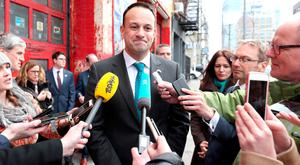 Leo Varadkar speaks to reporters in New York's Hell's Kitchen. Photo: PA