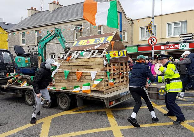A float in the Spiddal parade which poked fun at the destruction of the Lidl supermarket