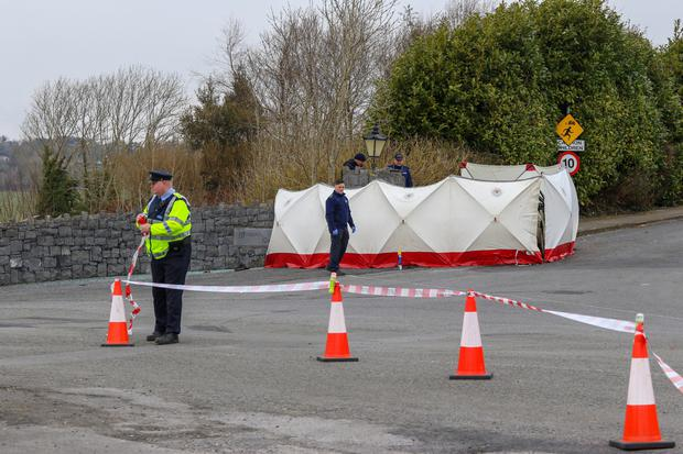 Gardai at the scene of the single-vehicle crash on the Shanaway Road in Woodstock, Ennis