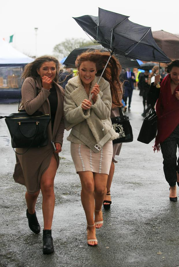 Punters on Monday braved the rain at Fairyhouse. Photo: Collins