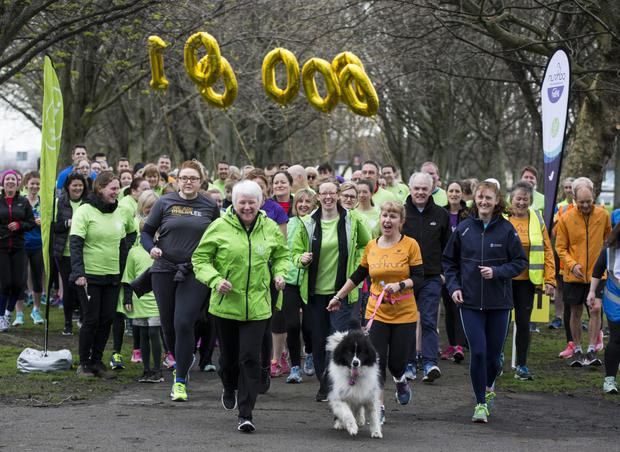 Minister of State for Health Promotion, Catherine Byrne enjoying the Brickfields Drimnagh park run to mark Ireland's one millionth parkrun.