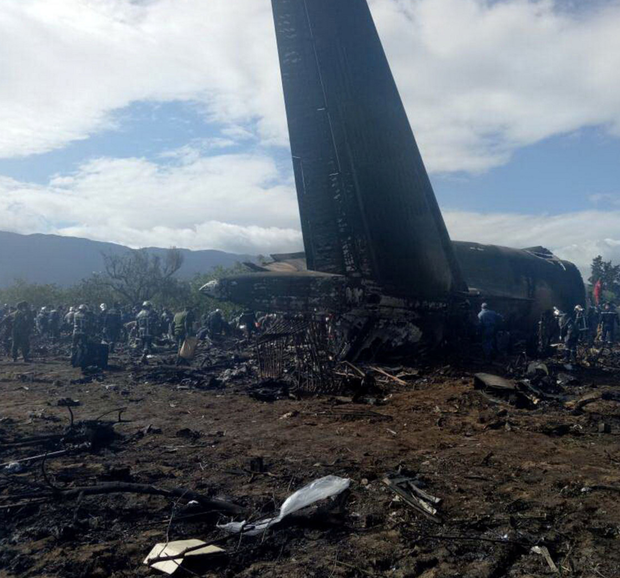 The wreckage of the Russian-built Algerian military transport plane