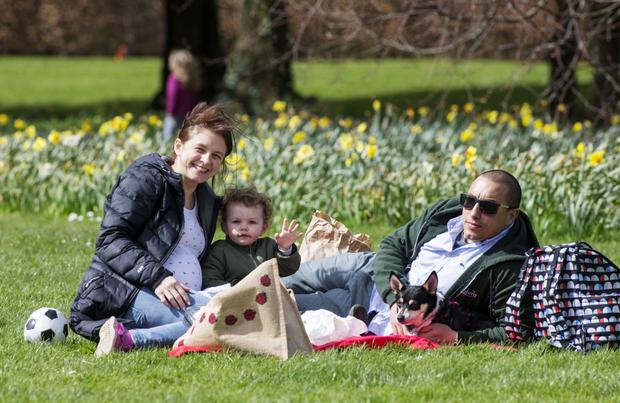 Little Kai Pierpoint Sheridan (22 mths) pictured enjoying a picnic with his parents, Nicola and Dan at St. Ann's Park, Raheny