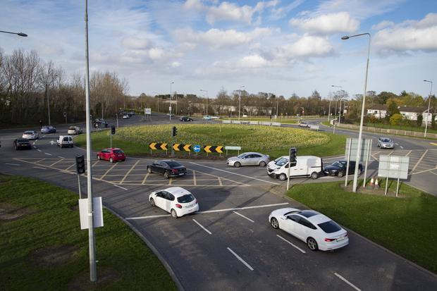 A 22-year-old woman was struck by a car on her way to work at this roundabout in Swords, causing serious head injuries