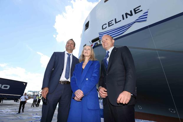 Leo Varadkar, 'godmother' to the ship, Geraldine O'Reilly and CLdN's Christian Cigrang