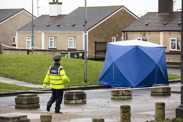 Gardaí at Bridgeview Halting Site on Cloverhill Road where Derek Coakley Hutch was shot dead