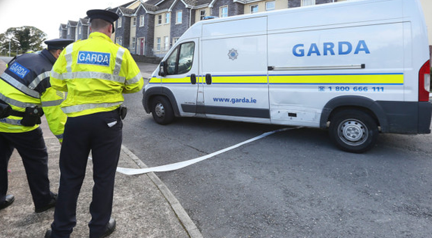 Gardai at the scene of the fatal shooting