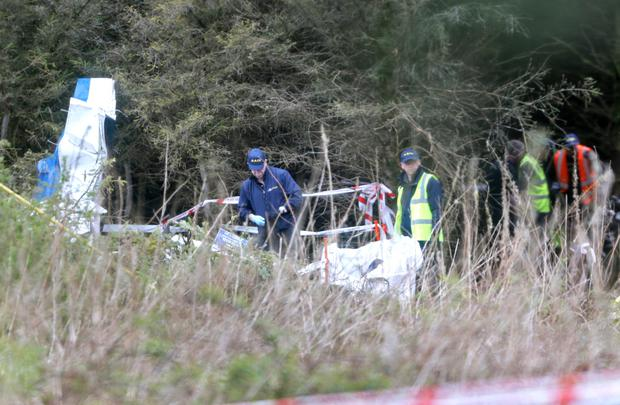 Members of the Gardai and an Air Accident Investigation Unit examine the wreckage