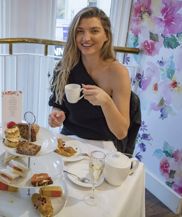 Model Alannah Beirne checks out Arnotts' 1843 Tea Rooms. Photo: Arthur Carron Photography