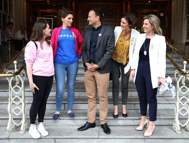 Taoiseach Leo Varadkar speaks to (from left) Claire Woods, Theresa Newman and TDs Kate O'Connell and Maria Bailey