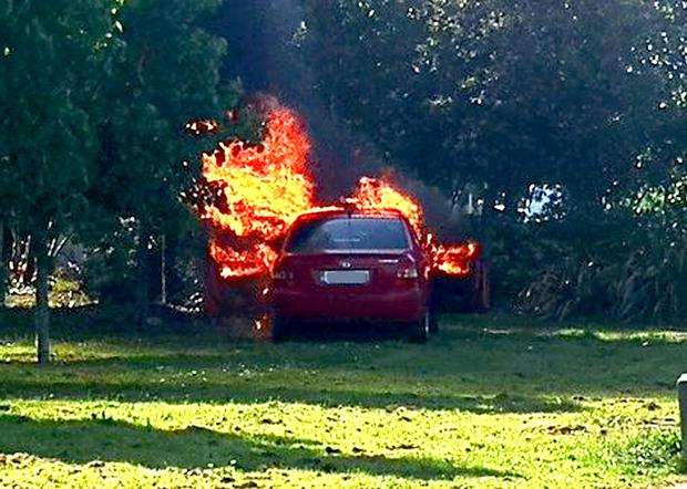 The thugs escaped in a car that was later found burnt-out. Photo: Jess Kelly