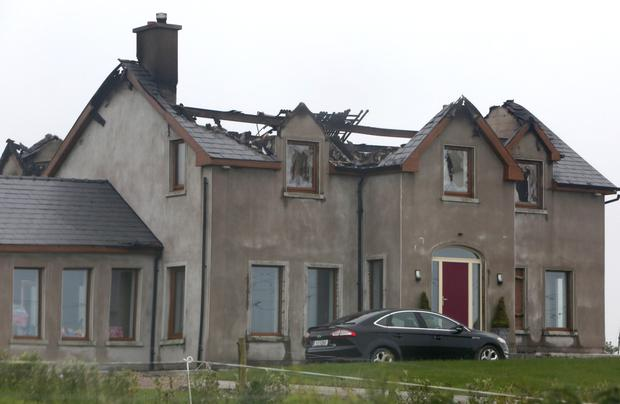 The damage done to a house in Ballmakeagh, Co Cork, which was hit by a bolt of lightning early yesterday morning