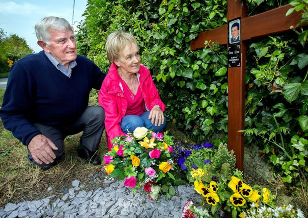 Dessie Fox's wife Bernadette and brother Brian lay a wreath in memory of the murdered man